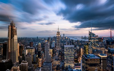 Empire State Building, New York, Manhattan, evening, sunset, skyscrapers, metropolis, USA