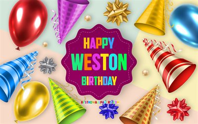 Happy Birthday Weston, Birthday Balloon Background, Weston, creative art, Happy Weston birthday, silk bows, Weston Birthday, Birthday Party Background