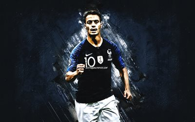 Wissam Ben Yedder, French footballer, France national football team, portrait, blue stone background, France, football