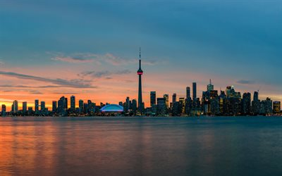 CN Tower, Toronto, Edmonton, evening, sunset, skyscrapers, Toronto cityscape, Toronto skyline, Canada
