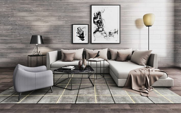 gray room, modern interiors, gray furniture, laminate on wall, modern design, living room