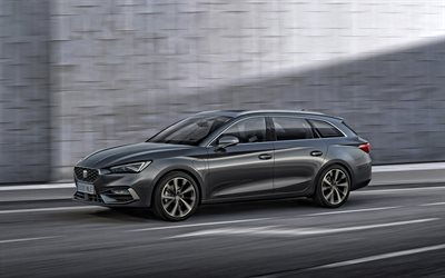 2020, Seat Leon Sportstourer, 4k, exterior, front view, gray station wagon, new gray Leon Sportstourer, spanish cars, Seat