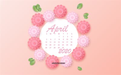 March 2020 Calendar, pink flowers, March, 2020 spring calendars, 3d paper pink flowers, 2020 March Calendar