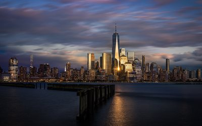 One World Trade Center, New York City, evening, sunset, skyscrapers, cityscape, modern buildings, USA