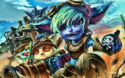 Teemo, Tristana, Poro, Rumble, MOBA, League of Legends, 2020 games, warriors, artwork, Teemo League of Legends
