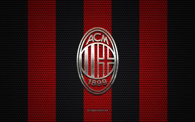 AC Milan logo, Italian football club, metal emblem, red black metal mesh background, AC Milan, Serie A, Milan, Italy, football
