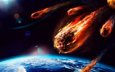 meteorites, planet, Earth, 3D art, galaxy, fire, apocalypse