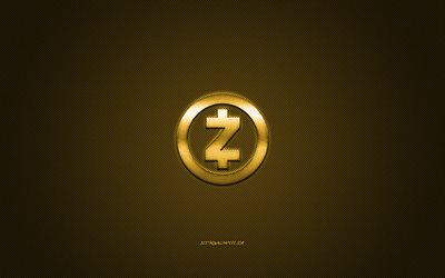 Zcash logo, metal emblem, golden carbon texture, cryptocurrency, Zcash, finance concepts