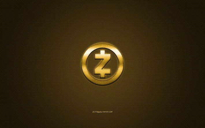 Zcash logo, emblème de métal, d'or de carbone texture, cryptocurrency, Zcash, finance concepts