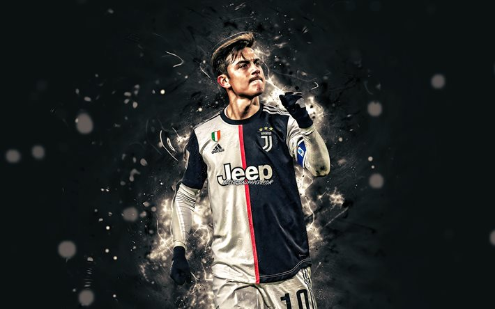 4k, Paulo Dybala, 2020, Juventus FC, Bianconeri, football stars, argentinian footballers, Italy, Juve, Dybala, soccer, goal, neon lights, Serie A