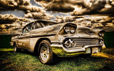 Chevrolet Bel Air, HDR, 1958 cars, retro cars, american cars, 1958 Chevrolet Bel Air, Chevrolet