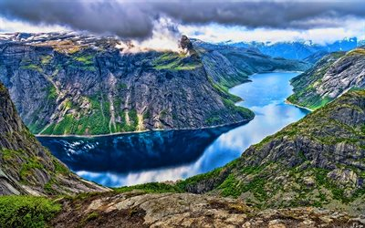 Norway, fjord, beautiful nature, mountains, summer, Europe, Norwegian nature, HDR