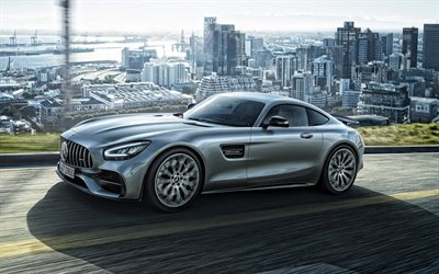 Mercedes-Benz AMG GT R, 2020, front view, exterior, silver sports coupe, new silver AMG GT R, German sports cars, Mercedes