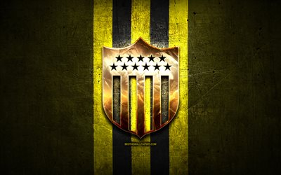 Penarol FC, golden logo, Uruguayan Primera Division, yellow metal background, football, CA Penarol, Uruguayan football club, Penarol logo, soccer, Uruguay, Club Atletico Penarol
