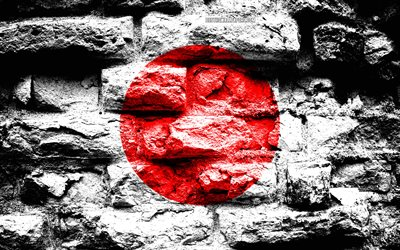 Japanese Flag, grunge brick texture, Flag of Japan, flag on brick wall, Japan, flags of Asian countries, Japan Flag