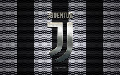 Juventus FC logo, Italian football club, metal emblem, white black metal mesh background, Juventus FC, Serie A, Turin, Italy, football