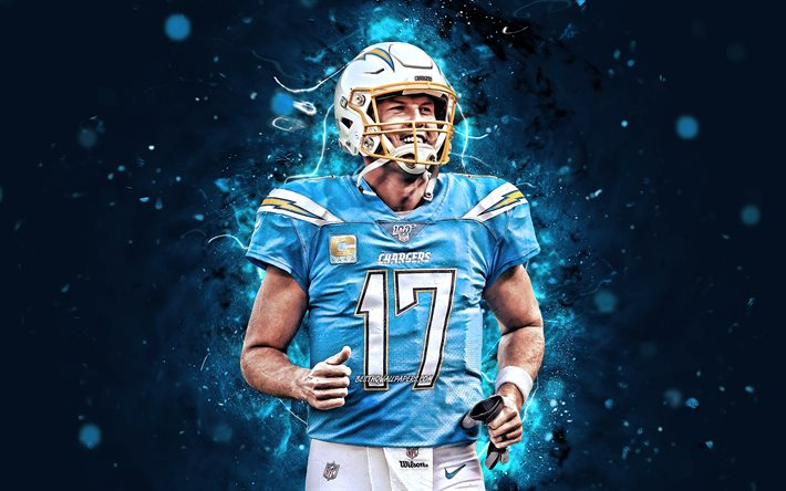 Philip Rivers, 4k, NFL, quarterback, Los Angeles Chargers, american football, Philip Michael Rivers, LA Chargers, National Football League, neon lights, Philip Rivers LA Chargers