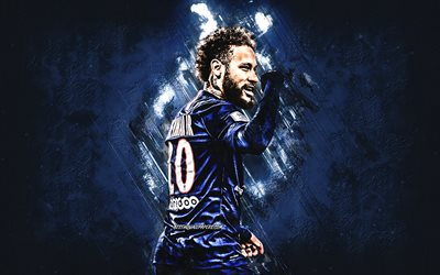 Neymar, PSG, Brazilian soccer player, portrait, blue stone background, Ligue 1, France, football, Paris Saint-Germain