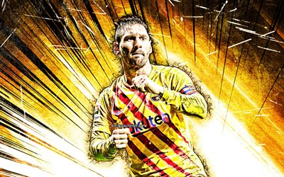 Lionel Messi, grunge art, Barcelona FC, argentinian footballers, yellow uniform, goal, FCB, Leo Messi, football stars, La Liga, Messi, yellow abstract rays, LaLiga, soccer, Spain, Barca