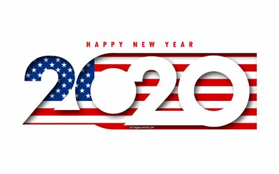 USA 2020, Flag of USA, white background, Happy New Year USA, 3d art, 2020 concepts, USA flag, 2020 New Year, 2020 USA flag