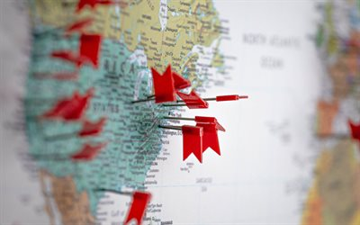 USA map, red flags, travel to USA, flags needles, markers on the US map, needles with flags, USA
