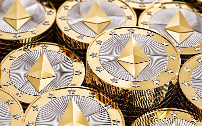 Ethereum, cryptocurrency, Ethereum 3d coins, Ethereum background, stacks of coins, electronic money