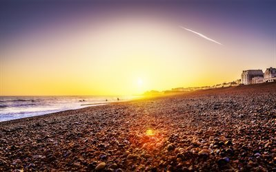 America, Brighton Beach, sea, sunset, beach, USA