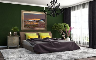 bedroom Interior, modern design, bedroom, green bedroom