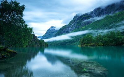 Lake Lovatnet, morning, mountains, waterfalls, Norway