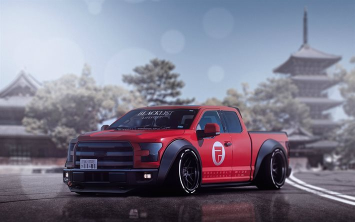 Ford F150 Shelby 2017 >> Download wallpapers Ford F-150 Raptor, tuning, 2017 cars, low rider, SUVs, red F-150, pickups ...