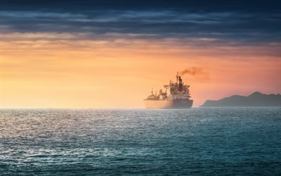 Antwerpen, sea, skyline, dry-cargo ship, bulk-carrier, sunset