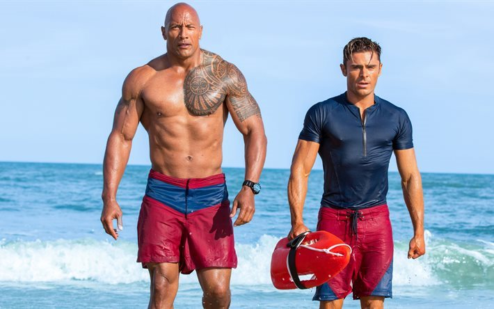 Baywatch, 2017, Dwayne Johnson, Zac Efron, beach