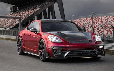 Porsche Panamera, Mansory, Tuning Porsche, red Panamera, sports coupe, German cars, Porsche