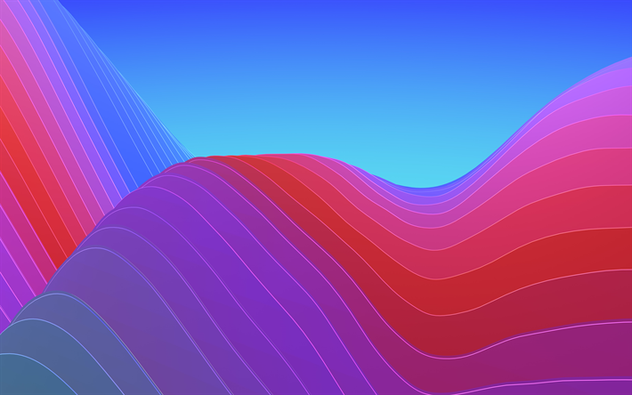 4k, abstract waves, curves, creative, ios 11, Iphone X, geometry, 3d art