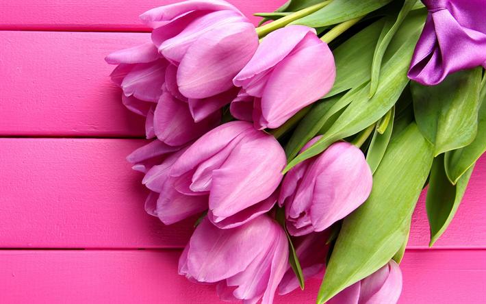 Scarica Sfondi Tulipani Rosa 4k Primavera Di Legno Sfondo Rosa