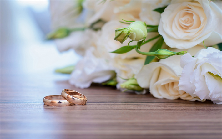 Download wallpapers gold wedding rings, white roses, wedding bouquet ...