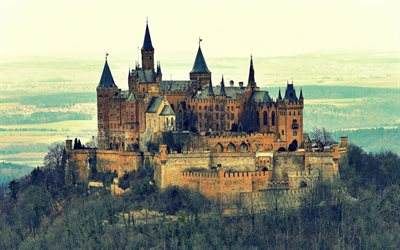 Baden-Wurttemberg, Hohenzollern Castle, autumn, forest, german landmarks, mountains, Europe, Germany