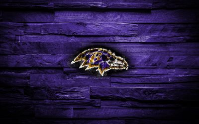 Download wallpapers Baltimore Ravens 4k scorched logo