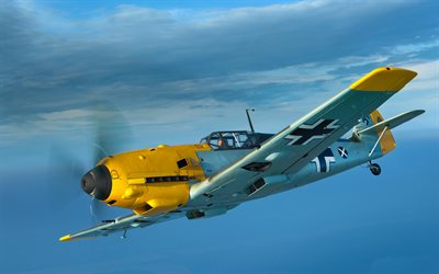 Messerschmitt Bf109E, Ме-109, Spanish fighter, la fuerza Aérea, de la II guerra Mundial, military aircraft
