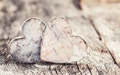 wooden hearts, two hearts, love concepts, relationships, hearts from wood