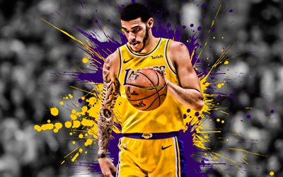 Lonzo Ball, American basketball player, Los Angeles Lakers, defender, yellow violet purple paint splashes, creative art, NBA, USA, basketball, National Basketball Association, grunge