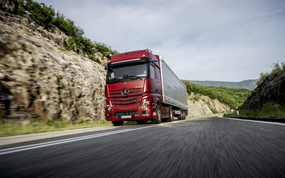 Mercedes-Benz Actros, 2019, new truck, 4x2, cargo transportation, cargo delivery, new red Actros, German trucks, Mercedes