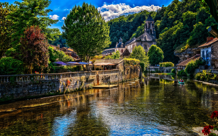 Brantom, summer, river, Aquitaine, France, Europe, beautiful nature, HDR