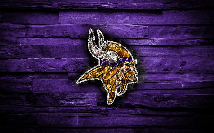 Download Wallpapers Minnesota Vikings 4k Scorched Logo