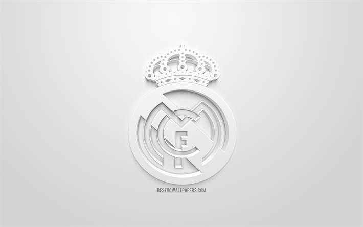 Real white logo, 3D Madrid, creative wallpapers Download