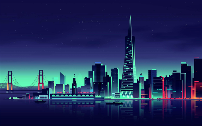 San Francisco, minimal, nightscapes, artwork, USA, America, creative, abstract cityscapes