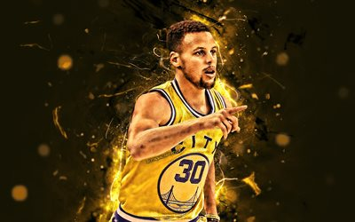 Steph Curry, yellow uniform, Golden State Warriors, basketball stars, NBA, Stephen Curry, basketball, neon lights, creative