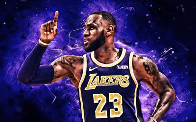 LeBron James, violet uniform, NBA, Los Angeles Lakers, basketball, LeBron Raymone James Sr, neon lights, basketball stars, LA Lakers, abstract art, creative, LeBron James Lakers