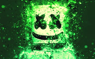 4k, Christopher Comstock, artwork, DJ Marshmello, green neon, creative, american DJ, Marshmello 4k, Marshmello DJ, superstars, Marshmello, DJs