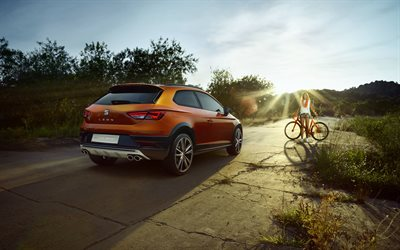 Seat Leon Cross Sport, 2018, rear view, crossover coupe, off-road version, new bronze Leon, Spanish cars, Seat